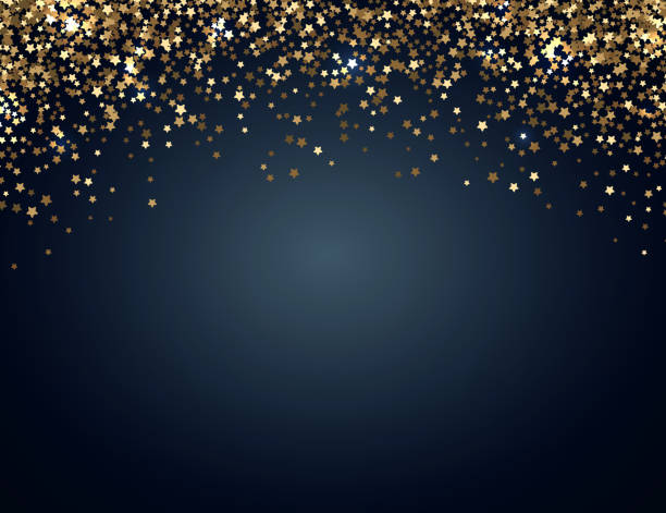 festive horizontal christmas and new year background with gold glitter of stars. vector illustration - holiday backgrounds stock illustrations, clip art, cartoons, & icons