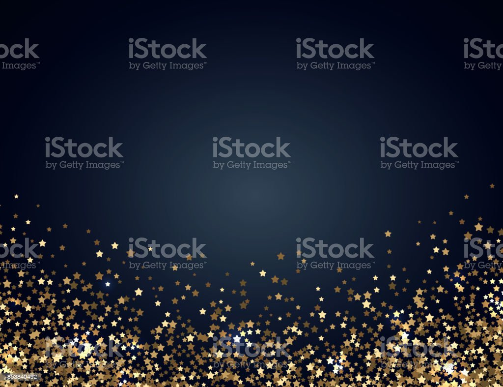 Festive horizontal Christmas and New Year background with gold glitter of stars. Vector illustration vector art illustration