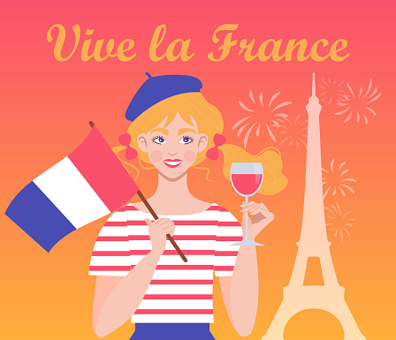 A festive illustration for the French National Celebration on July 14.
