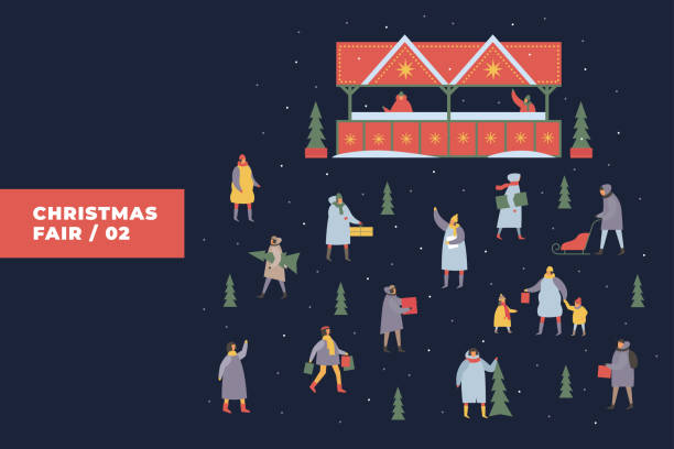 festliche illustration mit bild von menschen, die einkaufen auf grund der fairen und verschneite stände. - weihnachtsmarkt stock-grafiken, -clipart, -cartoons und -symbole