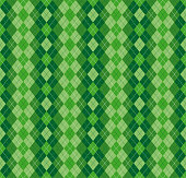 Festive Irish Tartan Diamond Seamless pattern for St Patrick's Day party wrapping paper, textile fabric print, wallpaper abstract background. Flat style vector illustration. Green and white colours
