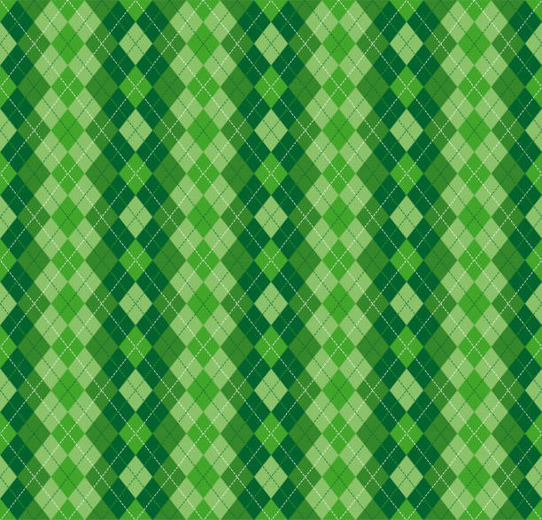 Festive Irish Tartan Diamond Seamless pattern for St Patrick's Day Festive Irish Tartan Diamond Seamless pattern for St Patrick's Day party wrapping paper, textile fabric print, wallpaper abstract background. Flat style vector illustration. Green and white colours irish culture stock illustrations