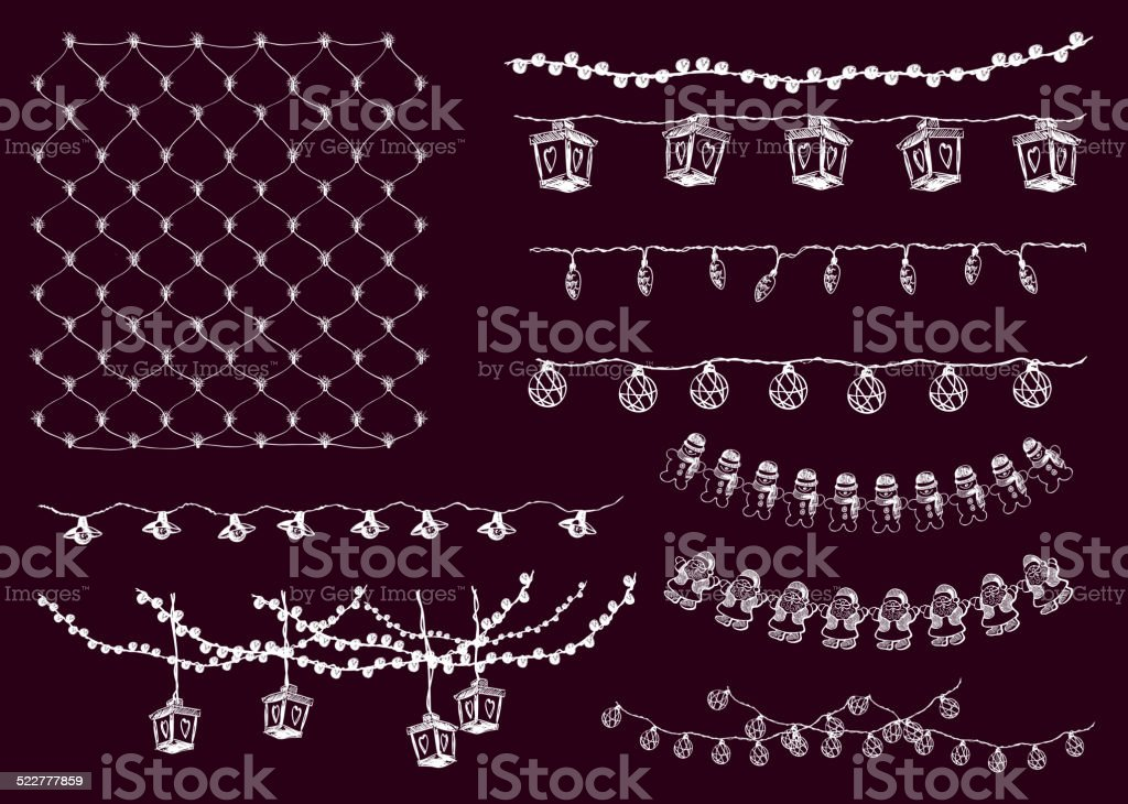 festive lights vector art illustration