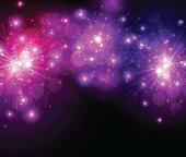 Festive lilac firework background. Vector illustration.