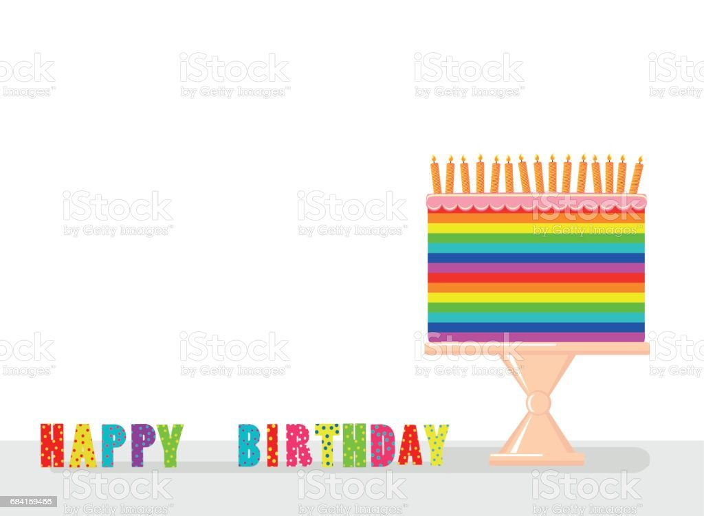 A festive multicolored and iridescent big cake with candles on a stand. Happy Birthday. Greeting card or invitation for a holiday. Vector a festive multicolored and iridescent big cake with candles on a stand happy birthday greeting card or invitation for a holiday vector - immagini vettoriali stock e altre immagini di ambiente royalty-free