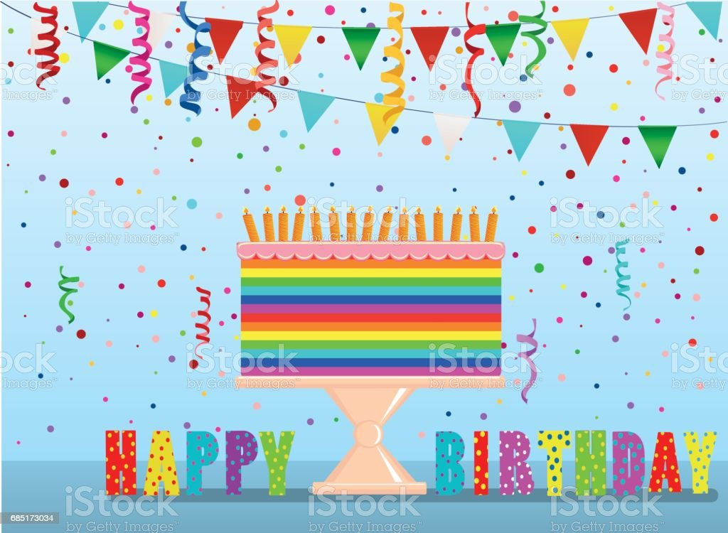 A festive multicolored and iridescent big cake with candles on a stand. Happy Birthday. Confetti and garland of flags. Greeting card or invitation for a holiday. Vector royalty-free a festive multicolored and iridescent big cake with candles on a stand happy birthday confetti and garland of flags greeting card or invitation for a holiday vector stock vector art & more images of anniversary