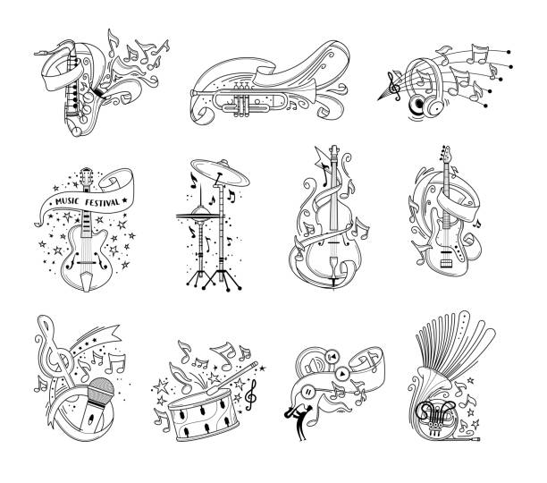festive musical instruments outline vector illustrations set - instrument perkusyjny stock illustrations