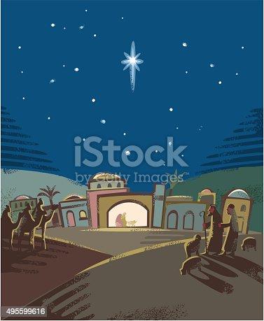 Seasonal nativity scene in Woodcut or hand print texture style. CS5 version in zip