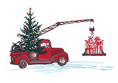 Festive New Year 2018 card. Red truck crane with fir tree decorated red balls and Christmas gifts isolated on white background. Vector illustrations