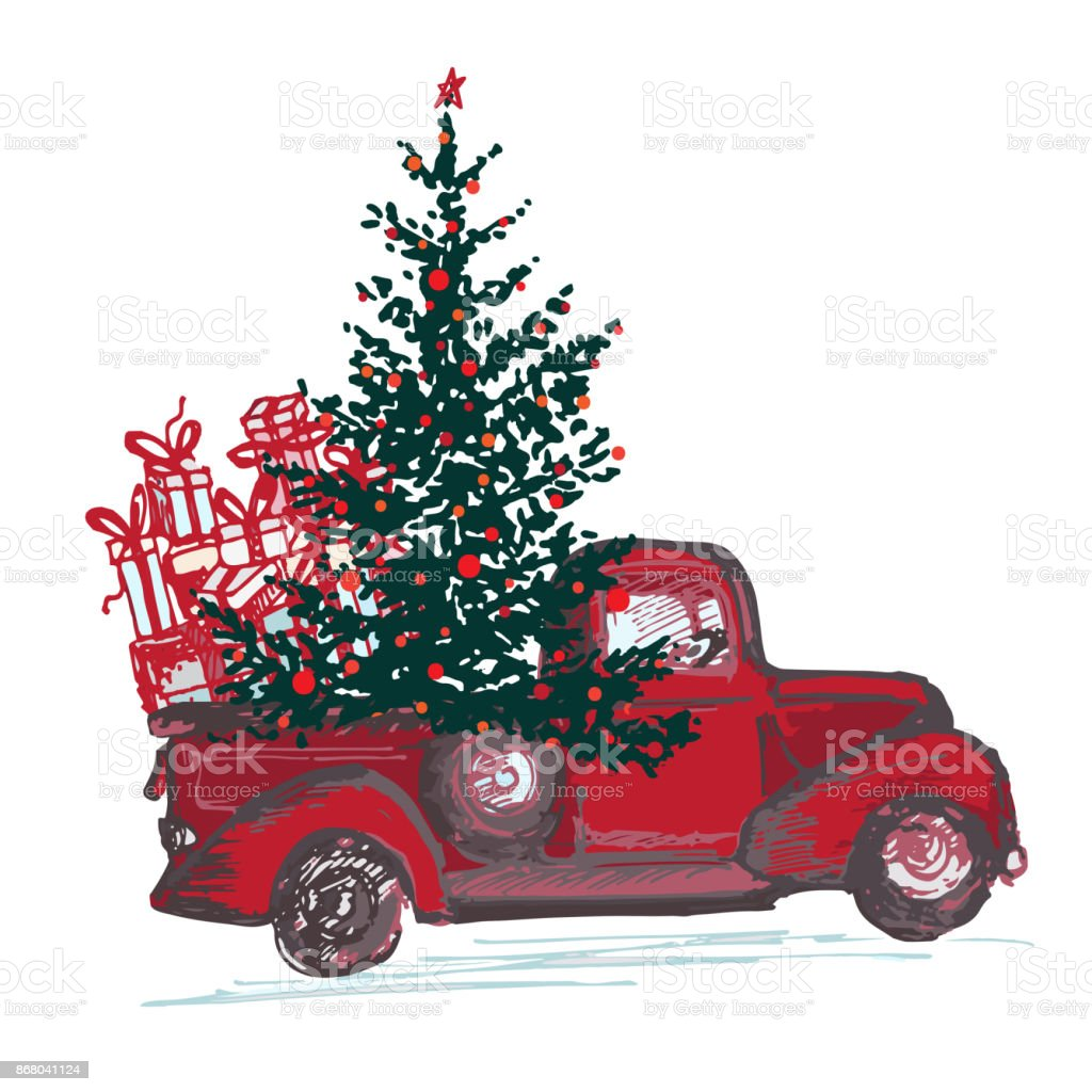 Red Truck With Fir Tree Decorated Balls Isolated On