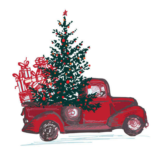 Royalty Free Christmas Tree Car Clip Art, Vector Images ...
