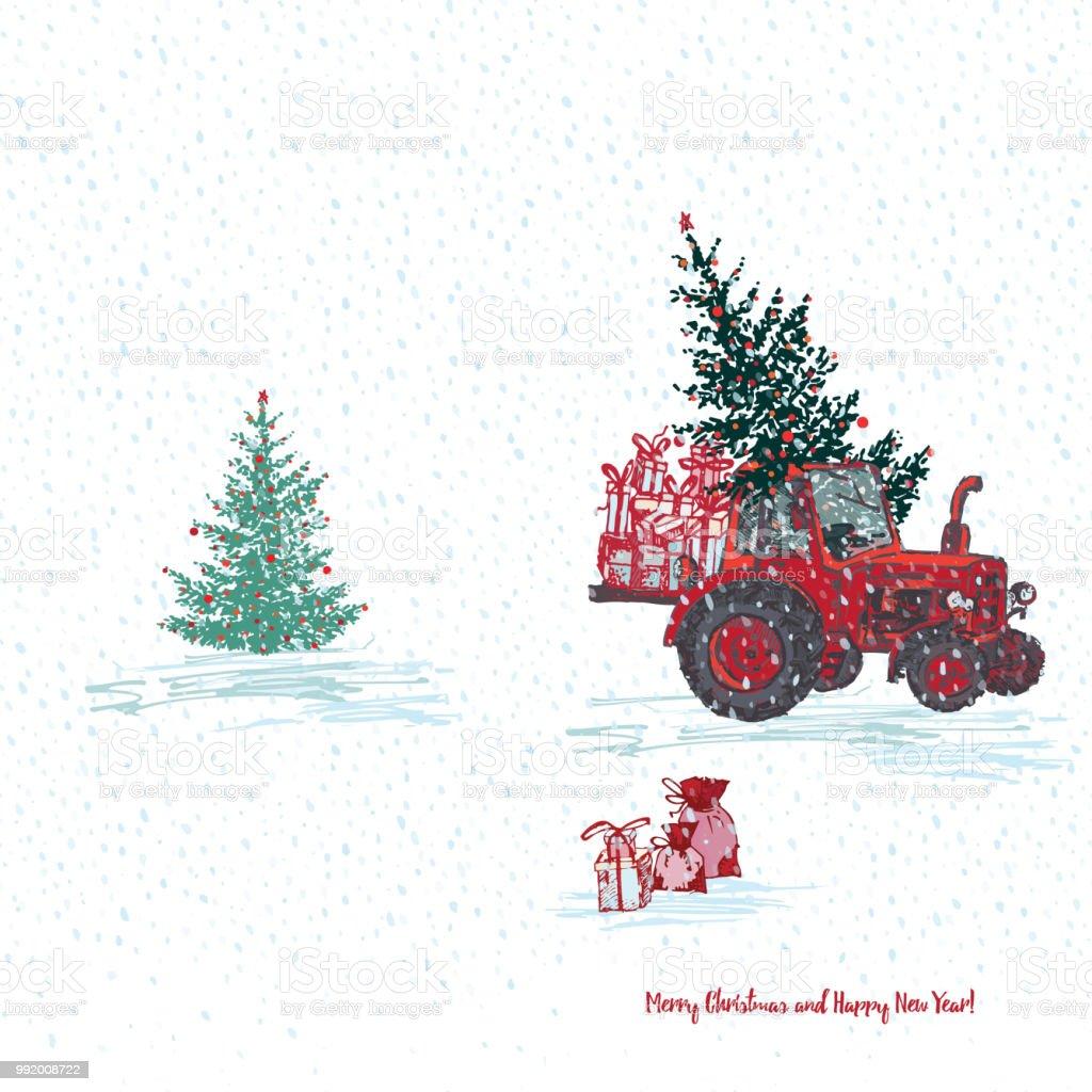 Festliches Silvester 2019 Karte Roter Traktor Mit Tanne Geschmückt ...
