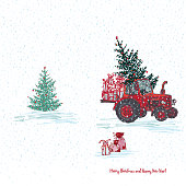 Festive New Year 2019 card. Red tractor with fir tree decorated red balls and holiday gifts White snowy seamless background. Vector illustrations