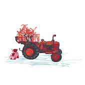 Festive New Year 2019 card. Red tractor with holiday gifts isolated on white background. Vector illustrations