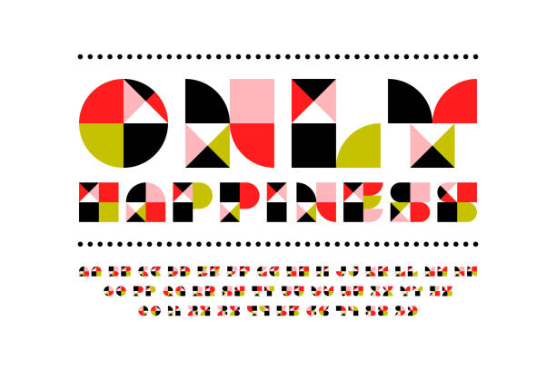 Festive only happiness font in modern style. Beautiful mosaic alphabet with contemporary geometric design Festive only happiness font in modern style. Beautiful mosaic alphabet with contemporary geometric design block shape stock illustrations