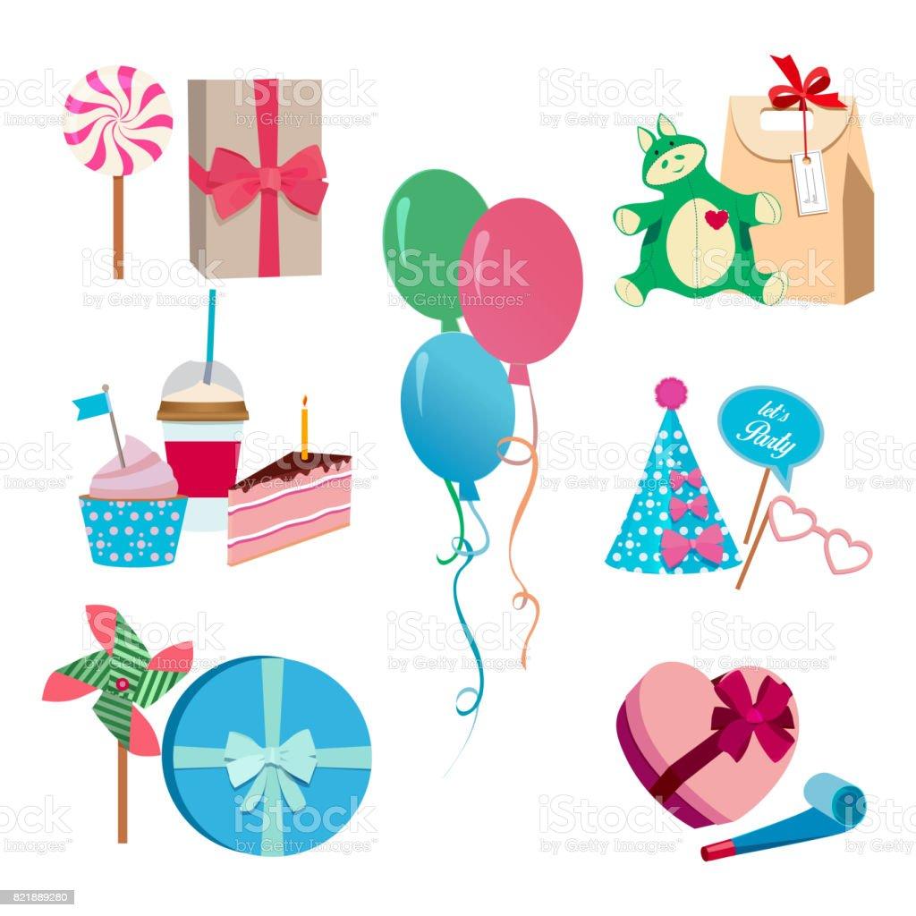 Feestartikelen En Verjaardag Partij Verschillende Vectorelementen