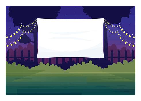 Festive outdoor cinema screen semi flat vector illustration