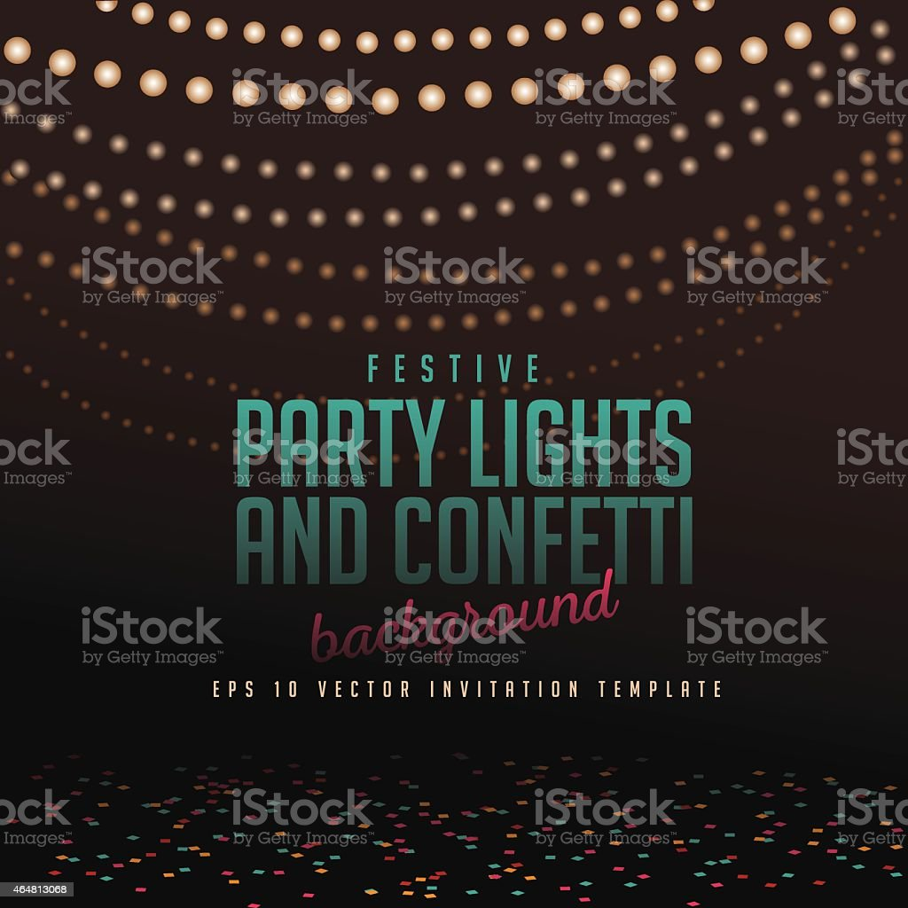 Festive party lights and confetti background vector art illustration