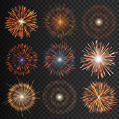 Festive patterned transparent fireworks isolated bursting in various shapes sparkling pictograms set. Fireworks night Vector illustration