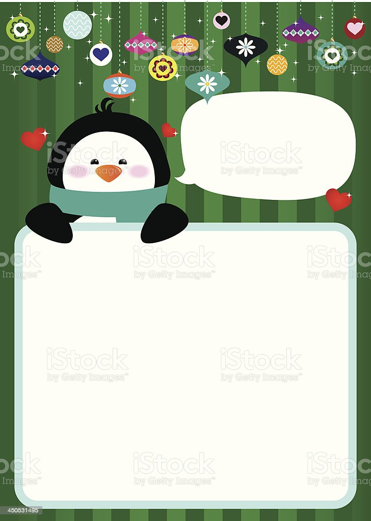 Festive Penguin Holiday Card vector art illustration