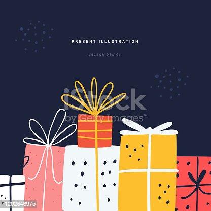 istock Festive present flat vector greeting card template 1202846975