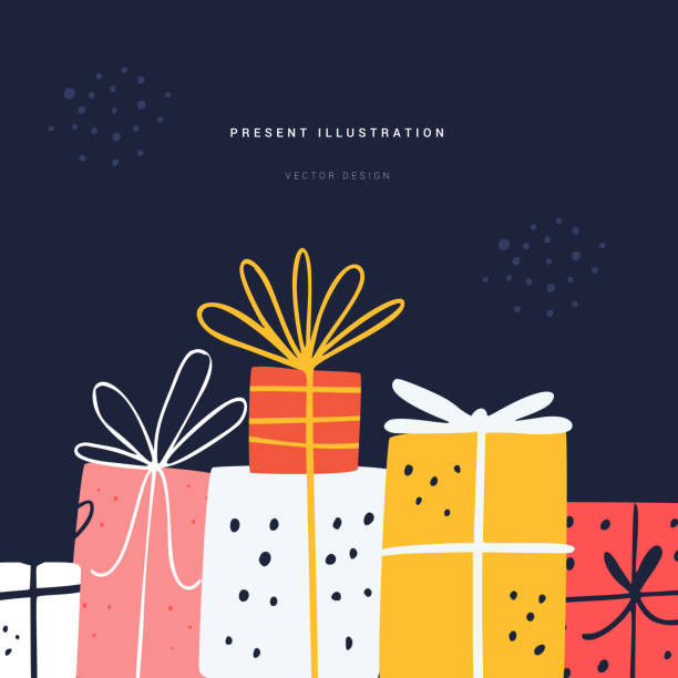Festive present flat vector greeting card template Festive present flat vector greeting card template. Wrapped gift boxes pile social media banner layout with text space. Birthday surprises handdrawn illustration on blue background anniversary drawings stock illustrations