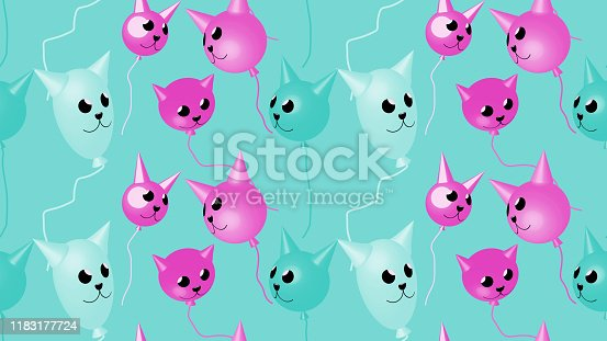 Festive seamless pattern - Balloons in the form of cat heads.