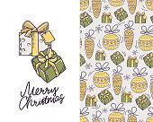 Festive seamless pattern with Christmas toys and gift boxes.  Christmas card with gifts and text. Vector.