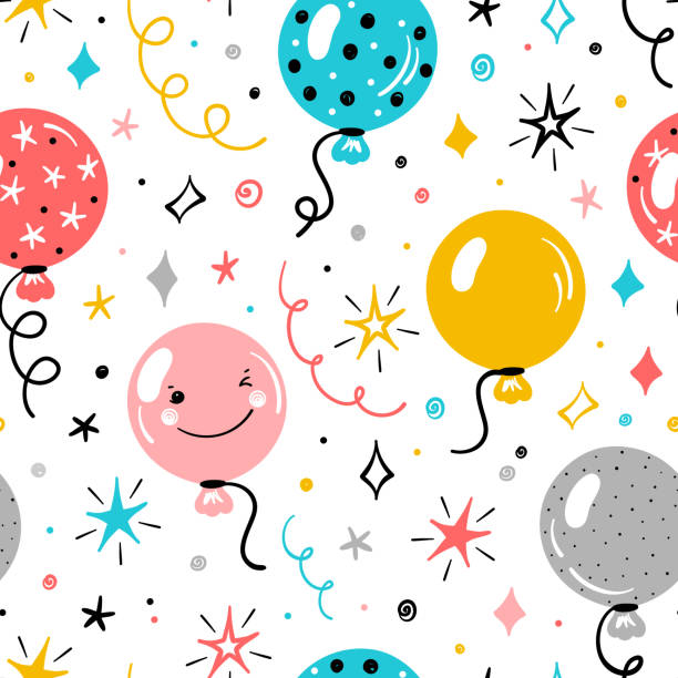 Festive Seamless Vector Pattern with Doodle Cute Balloons and Stars. Colorful Background for Kids with Cartoon Balloon, Star, Serpentine and Confetti Pieces. Holiday or Birthday Party Design Festive Seamless Vector Pattern with Doodle Cute Balloons and Stars. Colorful Background for Kids with Cartoon Balloon, Star, Serpentine and Confetti Pieces. Holiday or Birthday Party Design birthday background stock illustrations