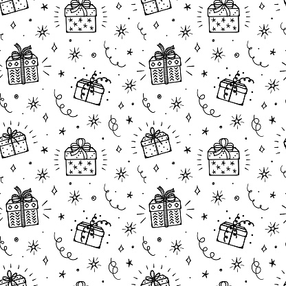 Festive Seamless Vector Pattern with Doodle Gift Boxes and Stars. Black and White Background with Cartoon Gifts, Star, Serpentine and Confetti Pieces. Holiday or Birthday Party Design