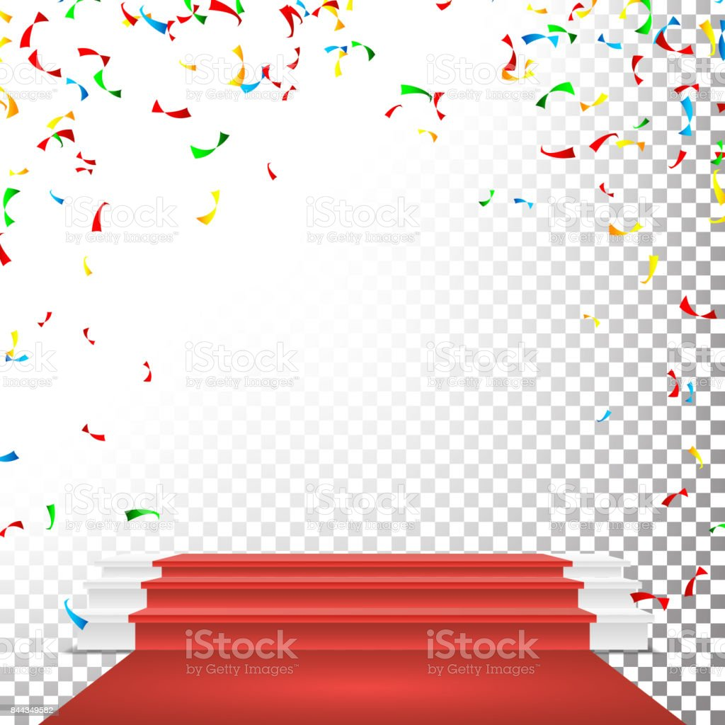 Festive Stage Podium Scene Vector. Falling Confetti Explosion. Red Circle Podium. Award Transparent Background Illustration vector art illustration