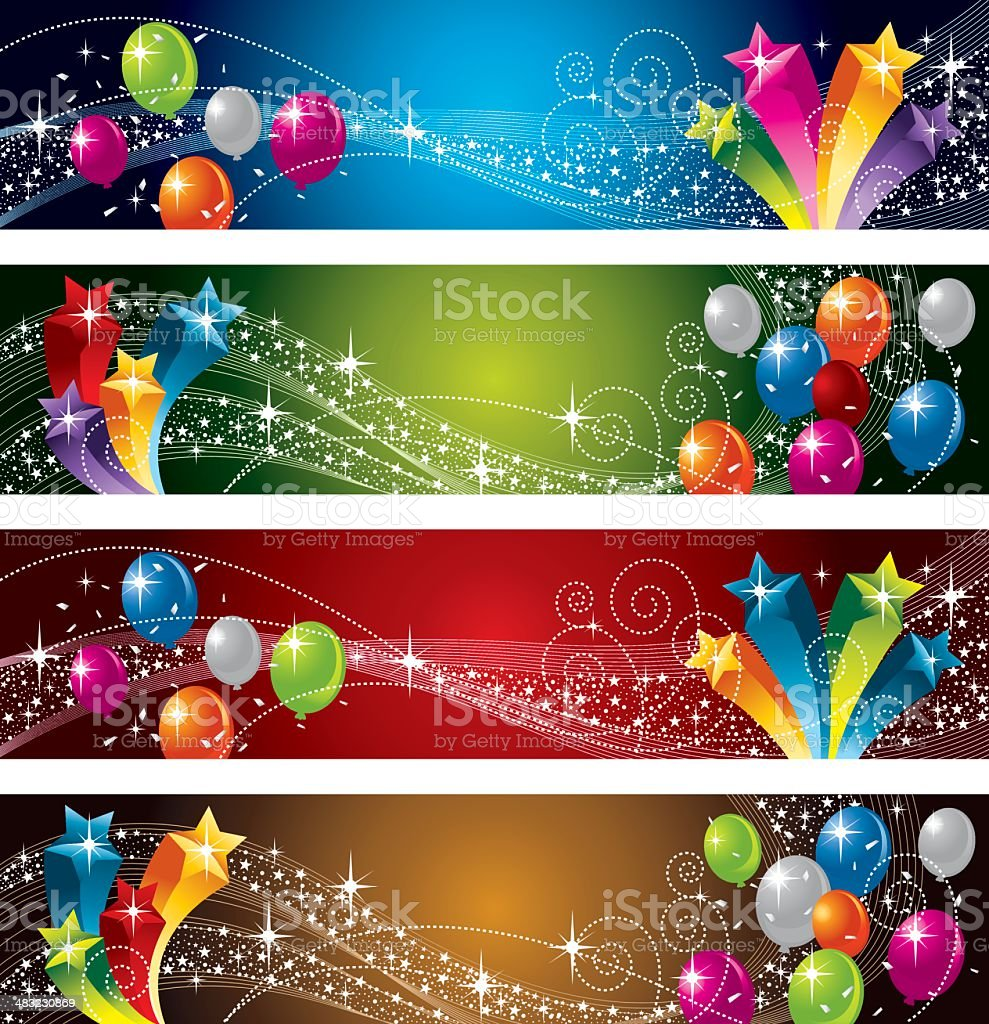 Festive Star and Balloon royalty-free festive star and balloon stock vector art & more images of anniversary