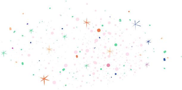 festliche sterne, planeten, milchstraße vektor. kosmos, weltraum, fernes universum. einfache vektor-illustration im minimalistischen stil. lineare galaktische zeichnung, kosmisches doodle. weißer hintergrund, zufälliges layout, bunte objekte feuerwerk-s - milky way stock-grafiken, -clipart, -cartoons und -symbole