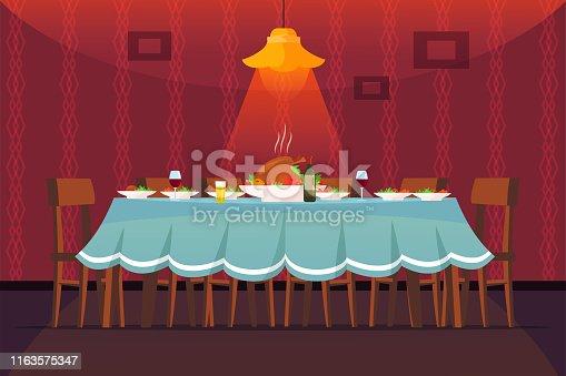 istock Festive table flat vector illustration 1163575347