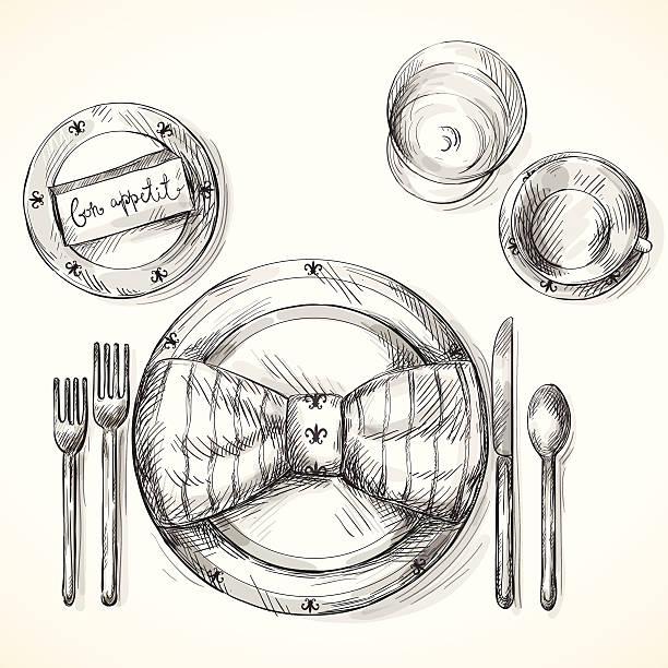 stockillustraties, clipart, cartoons en iconen met festive table setting - gedekte tafel
