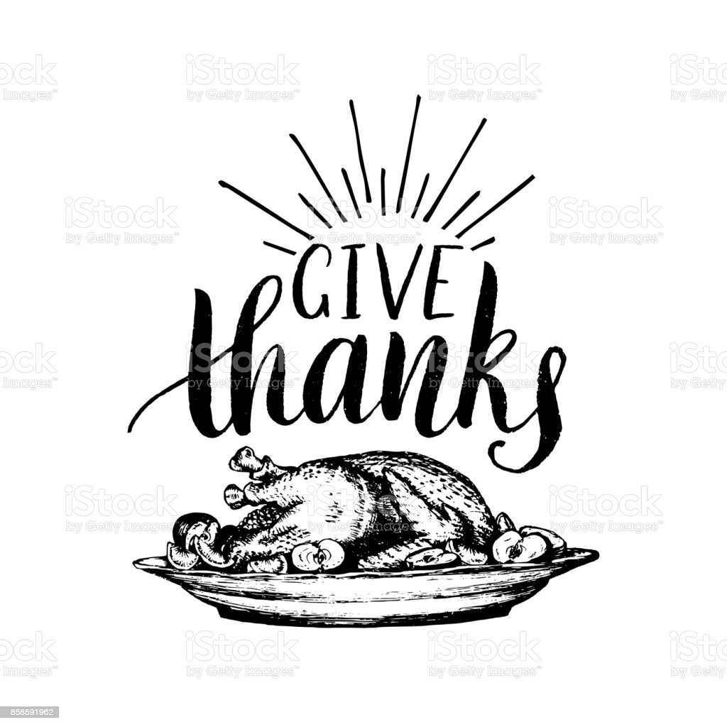 Festive Turkey Vector Illustration With Give Thanks Lettering