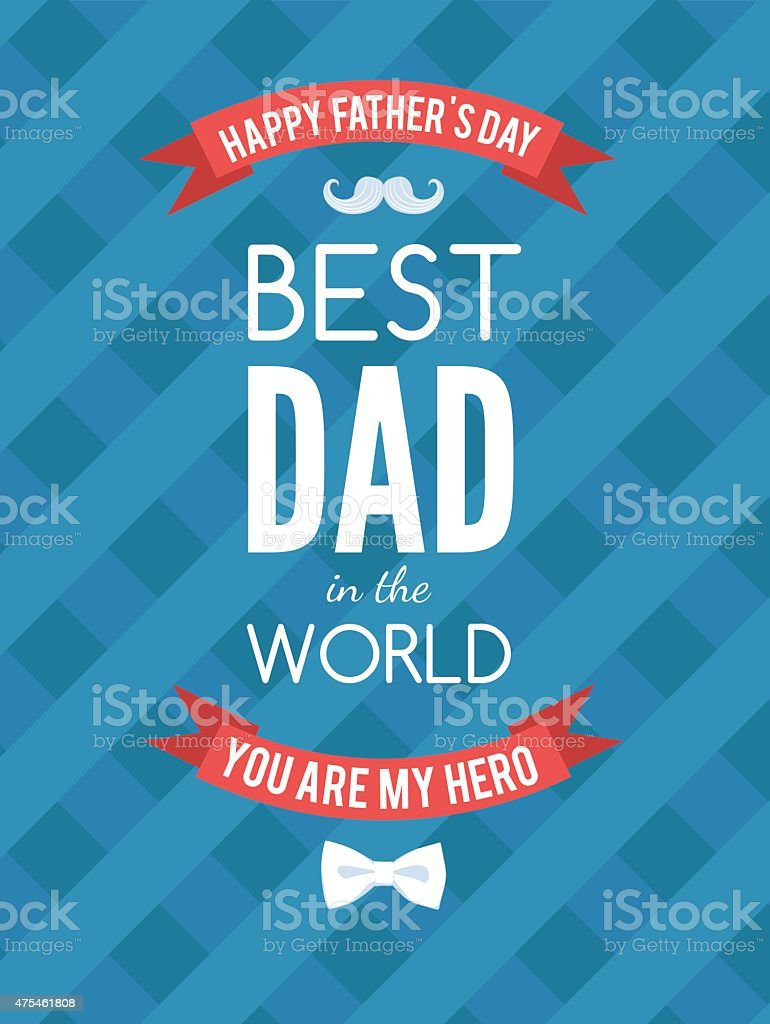 Festive typographical  retro style greeting card for father's da vector art illustration