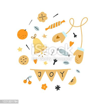 Festive vector clipart isolated on white background. Cute hygge elements and Christmas decorations