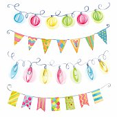 Festive vector watercolor garlands of flags and lights: red, blu