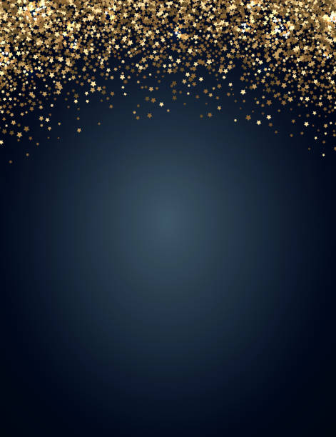 Festive vertical Christmas and New Year background with gold glitter of stars. Vector illustration vector art illustration