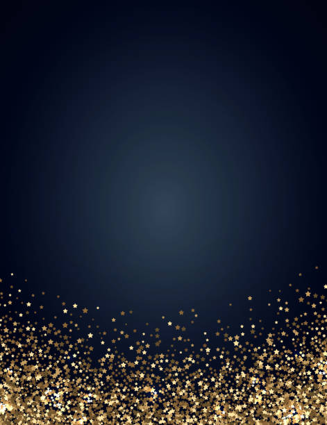 festive vertical christmas and new year background with gold glitter of stars. vector illustration - celebrations and parties background stock illustrations