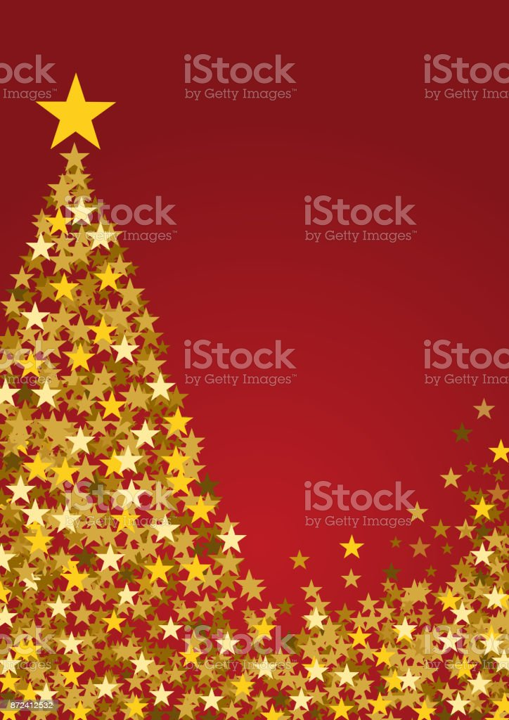 Festive Vertical Christmas Background With Copy Space Golden Stars And Tree On Red Royalty