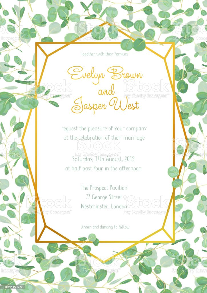 Festive Wedding Invitation Card With Evergreen Eucalyptus