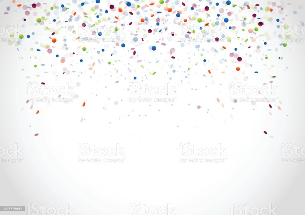 Festive white banner with bright colorful glossy confetti. Vector illustration vector art illustration
