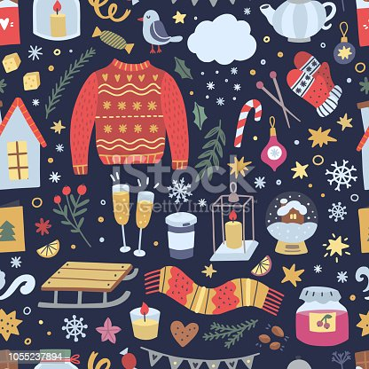 Festive winter background. Seamless pattern with Christmas illustrations and hygge lifestyle interior elements