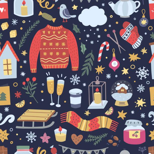 ilustrações de stock, clip art, desenhos animados e ícones de festive winter background. seamless pattern with christmas illustrations and hygge lifestyle interior elements - hygge