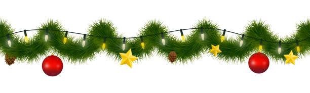 illustrations, cliparts, dessins animés et icônes de guirlande de fête d'hiver pour les sites web. guirlande de noël et du nouvel an avec conifère torse, lumières de noël, étoile, ornements en verre et ficone. - guirlande