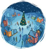 Seasonal winter village scene in Woodcut or hand print texture style. High res jpeg in the zip file