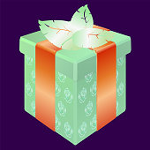 Festively decorated packaging with gifts in bright colors on a dark purple background