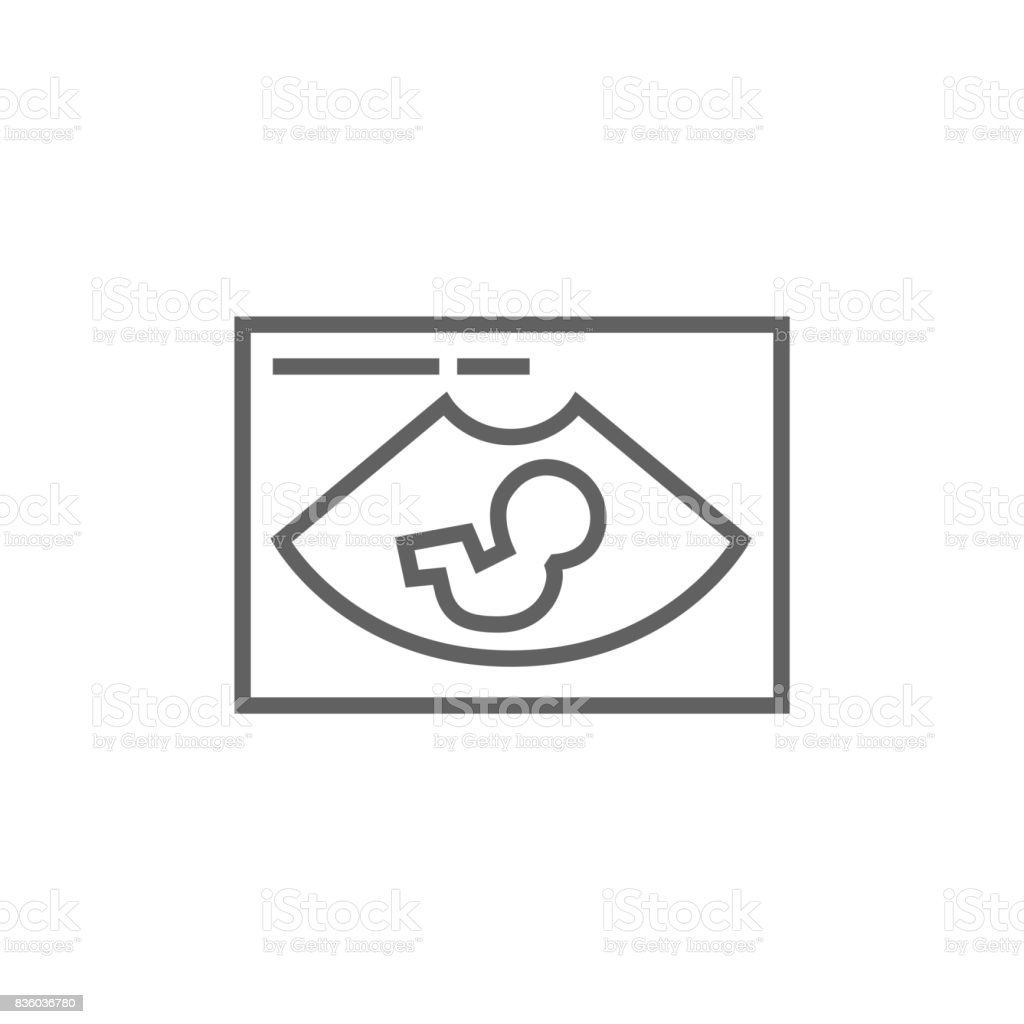 Fetal ultrasound line icon vector art illustration